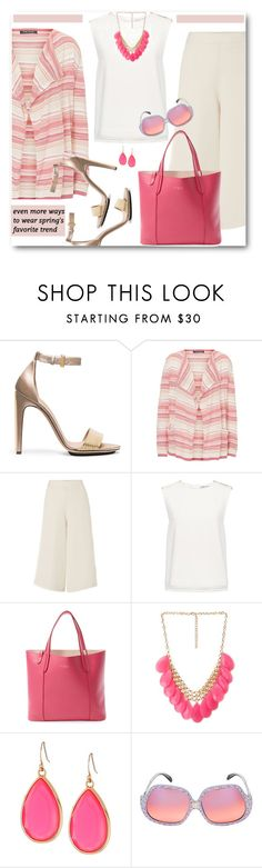 """Striped Cardigan & Wide Leg Trousers"" by brendariley-1 ❤ liked on Polyvore featuring Calvin Klein, Betty Barclay, Therapy, Finders Keepers, Furla, Forever 21, Kate Spade and Emilio Pucci"