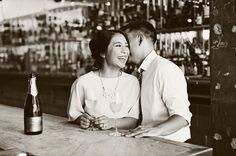 Pasadena engagement session at a wine bar