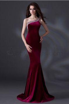 Unique, Elegant One Shoulder, Sloping shoulder Evening Dresses Formal Evening Burgundy