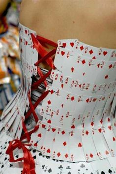Playing cards and ribbon