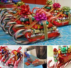 Chocolate Candy Cane Santa Sleighs