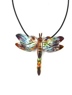 Handcrafted flame painted torched copper dragonfly pendant, dragonfly necklace, dragonfly jewelry, working artists team, made in canada, art