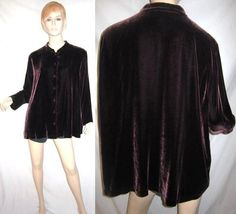 EILEEN FISHER Rayon Silk Velvet Dark Brown Top Jacket 2X...see more details at this link - http://stores.shop.ebay.com/vintagefluxed