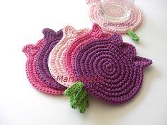 Crochet Coasters Pink Purple Rose Tulips . Valentine by MariMartin, $32.00