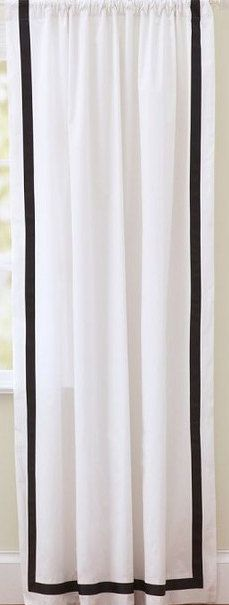 Two 96 X 50 Custom White Curtain Panels With Trim