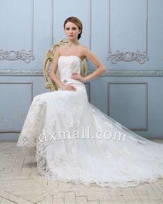 A-line Wedding Dresses Strapless Chapel Train Lace Satin Ivory 01001010050