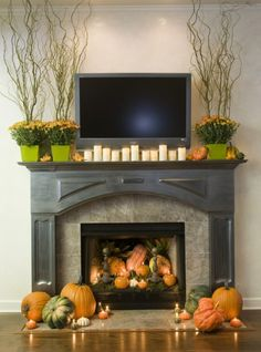 fall nature decor - what if you used twinkle lights in the fireplace instead of candles