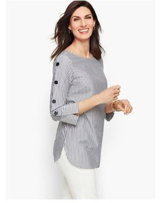 Shop Talbots for modern classic women's styles. You'll be a standout in our Button Sleeve Poplin Shirt - Stripe - only at Talbots! Kurti Sleeves Design, Sleeves Designs For Dresses, Kurta Neck Design, Dress Neck Designs, Simple Kurti Designs, Kurta Designs Women, Kurti Designs Party Wear, Stylish Dresses, Shirt Blouses