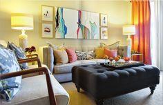bright living room, lovely art.