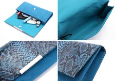 Snake Print Clutch  Price: £15.99  【Size】13cm x 23cm x 3cm 【Material】PU with Snake print + flannel 【Color】Blue