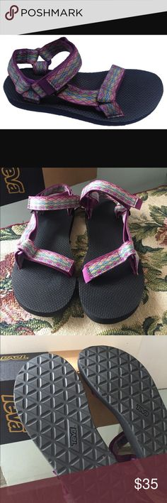 NEW TEVA ORIGINAL   Miramar Fade Dark Purple Multi From a Grand Canyon raft in 1984 to docks, stoops, and sidewalks around the world, one of Teva's very first sandal stands as a testament to timeless comfort and utilitarian Teva Shoes Sandals