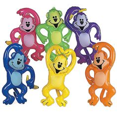 Inflatable Neon Monkeys. Your party guests will go bananas for these Inflatable Neon Monkeys. $2.39 each, $19.99 per dozen. http://www.partypalooza.com/Merchant2/merchant.mvc?Screen=PROD&Product_Code=InflNeonMonkey