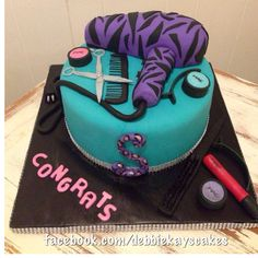 Cosmetology graduation cake Cosmo hair stylist make up artist cake hair dryer facebook.com/debbiekayscakes