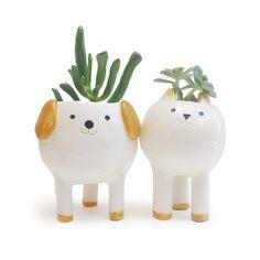 Lindo gato y perro jardineras / macetas par de escritorio / plantadores de cerámicas blanco