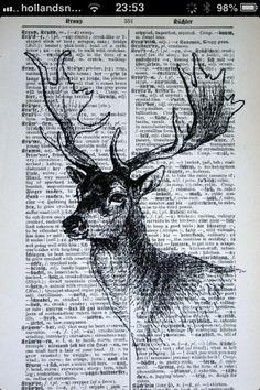 Deer Head Print on Vintage German Dictionary 5 x 7 by CrowBiz Book Page Art, Book Art, Dictionary Art, German Dictionary, Deer Art, Art Et Illustration, Art Drawings, Art Photography, Street Art