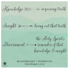 The difference betweeen knowledge, insight and discernment (from Lysa TerKeurst's book, Knowledge - acquiring truth. Insight - living out that truth. Discernment - the Holy Spirit's reminders of that knowledge and insight. Scripture Quotes, Bible Verses, Scriptures, Proverbs 31 Ministries Devotions, Cool Words, Wise Words, The Best Yes, Todays Devotion, Encouragement For Today