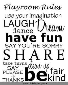 Playroom Rules in White 8x10