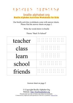 Braille alphabet. Activities for sighted peers