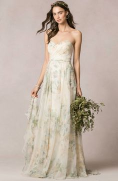"""""""Sophia"""" Gown in Vintage Floral Chiffon by Jenny Yoo 
