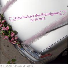 Autoaufkleber Hochzeit - Geschwister des Bräutigams mit Datum