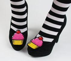 Cupcake Shoe Clips Kawaii Shoe Clips Black Friday by JanineBasil