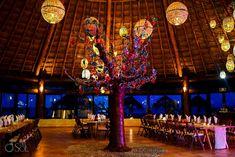 Dreams Puerto Aventuras El Patio restaurant dinner wedding reception set up evening night, tree light