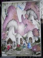 Handmade Greeting Card gift idea by Denise Watson found on MyOwnCreation: Mushroom village with mice and dragonfly. Decoupaged for depth and embellished with a happy birthday staple.