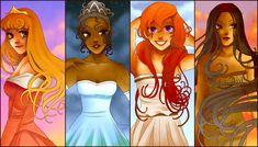Aurora, Tiana, Ariel, Pocohantas