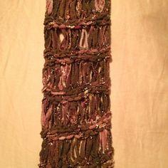 Loom knit drop stitch scarf.  Pattern by Isela Phelps