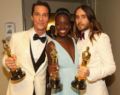 Best Actor and Best Supporting actors Matthew McConaughey and Jared Leto pose backstage with Best Supporting Actress winner Lupita Nyong'o d...