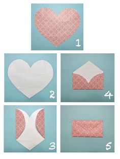 TO DO: Raid my paper stash and make some of these easy DIY heart envelopes