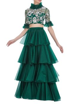 Buy Embroidered ruffled blouse with layered lehenga by Diya Rajvvir at Aza Fashions Indian Party Wear, Indian Wedding Outfits, Indian Outfits, Kids Wear Indian, Bridal Outfits, Choli Designs, Lehenga Designs, Blouse Designs, Sharara Designs