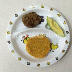 Tortita de arroz con zanahoria + hamburguesa de ternera y brócoli + aguacate