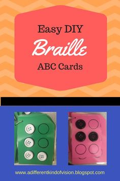 Make your own Braille alphabet cards with easy to find materials and a little bit of time. A perfect project for early Braille readers. Le Braille, Braille Reader, Braille Alphabet, Alphabet Cards, Visually Impaired Activities, Tactile Activities, Literacy Activities, Student Teaching, Teaching Kids