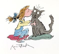 Risultati immagini per quentin blake Art And Illustration, History Of Illustration, Chris Riddell, Quentin Blake Illustrations, Art Archive, Roald Dahl, Mundo Animal, Conte, Crazy Cats