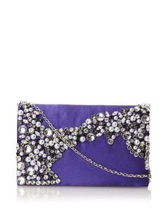 55% OFF Menbur Women's Con Stone-Covered Clutch (Purple)