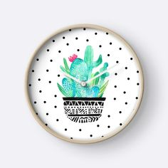 Pot Me A Cacti! Dots by amayabrydon Watercolor Cactus clock. Watercolor Cacti, Cactus Print, Clocks, Dots, Trends, Wall Art, Chic, Floral, Artist