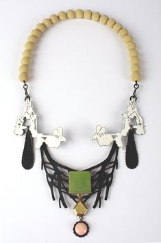 Zoe Arnolds: lava beads / 'Emotions necklace green' 18ct gold, antique coral, Andean Opal, enamel and silver. SOLD
