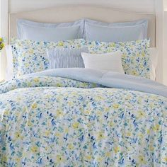Laura Ashley King Nora Comforter & Sham Set Blue Twin Comforter Sets, King Comforter, Bedding Sets, Comforter Cover, Yellow Comforter Set, Duvet Covers, Queen Bedding, Blue And Yellow Bedding, Blue Yellow