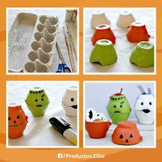Ahorra en bolsitas para dulces y recicla con materiales que tenemos en casa y crea cajitas para colocar los dulces de halloween.   #DIY #Halloween #Bolsitas #Cajitas #Dulces #HazloTuMismo #Manualidades #Pinturas #Niños