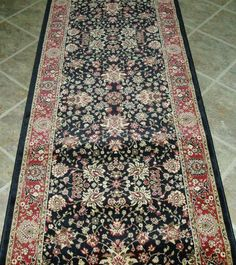 "AMZ185 - Rug Depot Traditional Oriental Hall Runner Remnant - 31"" x 10'5 - Black Background - Concord Global Kashmir 9063K Black - Hallway Runner ON SALE - FREE Serging Applied on Ends - Rug Runner is Machine-Made of 100% Polypropelene - Custom Hall Runners with Matching Area Rugs by Rug Depot. $157.50. Background Color - Black. Construction - Machine Made. For Custom Stair or Hall Runners, call Customer Service at 800-733-4784.. Accents - Green, Gold, Ivory. FREE Sergi..."