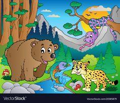 EPS Illustration - Forest scene with various animals Vector Clipart Vector Clipart, Vector Free, Animal 2, Art Images, Art For Kids, Pikachu, Scene, Clip Art, Drawings