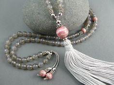 Rhodochrosite Mala Beads Tassel Mala by goodmedicinegemstone