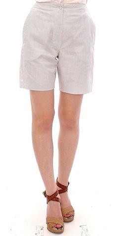 Andrea Incontri White Checkered Stretch Cotton Shorts