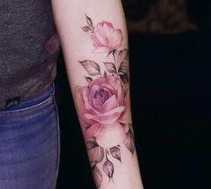 Watercolor Pink Rose Tattoo Pink Rose, my grandma loved pink roses🌹 Forearm Tattoos, Body Art Tattoos, Small Tattoos, Sleeve Tattoos, Tattoo Arm, Mandala Tattoo, Tattoo Pics, Tattoo Blog, Pink Rose Tattoos