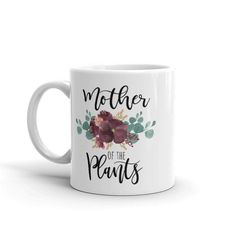 Mother of the bride? But if youre Mother of the Plants, then this might be your favorite everyday coffee mug. Add it to your collection or gift it to your favorite plant lover. Beautiful Lettering, Cute Mugs, Houseplants, Cute Gifts, Mother Of The Bride, White Ceramics, Coffee Mugs, Lovers, Geek