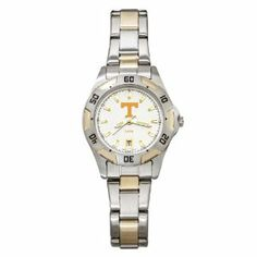NCAA Tennessee Volunteers Women's All-Pro Two-Tone Watch by Logo Art. $82.99. Lifetime limited warranty. Brushed chrome ionic plated brass water resistant case with screw-down back, rotating top ring and stainless steel bracelet with push-button clasp. Japanese quartz movement with two year #377 battery. Dial diameter 13/16 Inch, case width 1 1/8 Inch. Officially licensed team watch. From the Manufacturer                Women's All-Pro two-tone watch features a brushed chrome ion...
