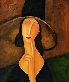 Modigliani, Femme au grand chapeau : tableau de GRANDS PEINTRES et peinture de Modigliani