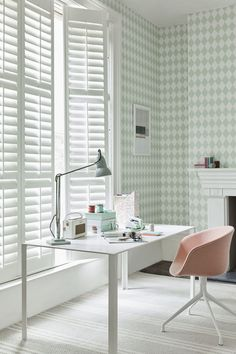 Shutters within a home office setting by California Shutters Traditional Home Office Furniture, Traditional Home Offices, Traditional House, Modern Office Desk, Home Office Chairs, Home Office Decor, Office Ideas, Home Decor, Beautiful Interior Design
