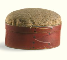 Rare painted maple and pine Shaker oval box with pincushion<br>Enfield, Grafton County, New Hampshire, circa 1836 | Lot | Sotheby's $7,500 Esmerian